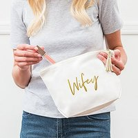 Large Personalised Canvas Makeup Bag - Wifey Script - White
