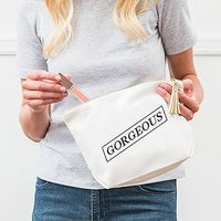 Large Personalised Canvas Makeup Bag - Gorgeous - White