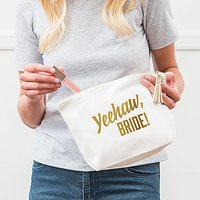 Large Personalised Canvas Makeup Bag - Yeehaw Bride - White