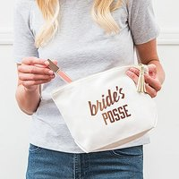 Large Personalised Canvas Makeup Bag - Bride's Posse - Black