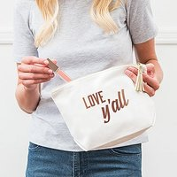 Large Personalised Canvas Makeup Bag - Love, Y'all - White