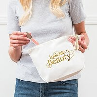 Large Personalised Canvas Makeup Bag - Look like a Beauty - Pastel Pink