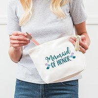 Large Personalised Canvas Makeup Bag - Mermaid of Honor - Pastel Pink