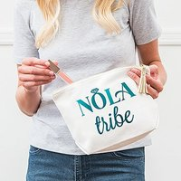 Large Personalised Canvas Makeup Bag - NOLA Tribe - Pastel Pink