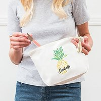 Large Personalised Canvas Makeup Bag - Pineapple - Navy Blue