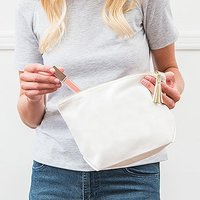 Large Canvas Makeup And Toiletry Bag For Women - Plus Silver