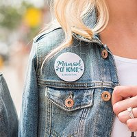 Personalised Bridal Party Wedding Pins - Mermaid of Honor