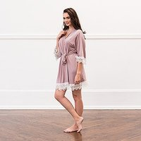 Women's Personalised Jersey Knit Robe with Lace Trim - Mauve - Large / X-Large