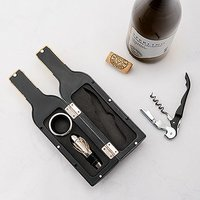 Personalised Wine Bottle Shaped Corkscrew Gift Set - Mr. & Mrs.