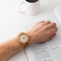 Personalised Mens Wooden Wristwatch - Wrap Text Monogram - Putty Grey