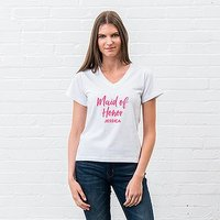 Personalised Bridal Party Wedding T-Shirt - Maid of Honor - Extra Large White