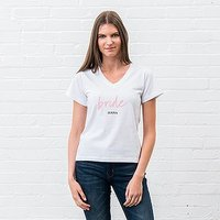 Personalised Bridal Party Wedding T-Shirt - Bride Script - Medium Black