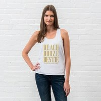 Personalised Bridal Party Wedding Tank Top - Beach, Booze, Bestie - Extra Large Blush