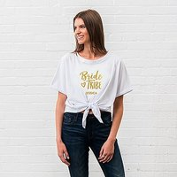Personalised Bridal Party Tie-Up Wedding Shirt - Bride Tribe - Small Blush