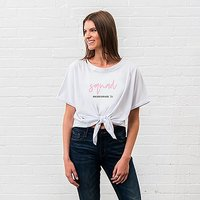 Personalised Bridal Party Tie-Up Wedding Shirt - Squad Script - Large White