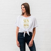 Personalised Bridal Party Tie-Up Wedding Shirt - Drink In My Hand - X-Small Blush