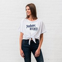 Personalised Bridal Party Tie-Up Wedding Shirt - Yeehaw Bitches - Small Blush