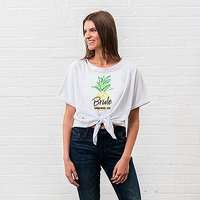 Personalised Bridal Party Tie-Up Wedding Shirt - Tropical Bride - Large White