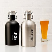 Personalised Stainless Steel Flip-Top Beer Growler - Vertical Text Monogram - Silver