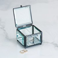 Small Personalised Vintage Glass Jewellery Box - Custom Monogram Engraving