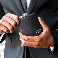 Personalised Engraved Black Hip Flask Wedding Gift - Initials
