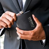 Personalised Engraved Black Hip Flask Wedding Gift - Vertical Best Man