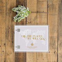 Personalised Clear Acrylic Wedding Guest Book - Vintage Travel