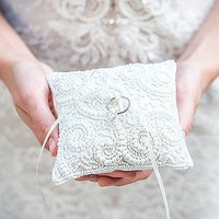 White Beaded Miniature Wedding Ring Cushion - White