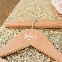 Personalised Wooden Wedding Clothes Hanger- Calligraphy Name - With Bar White