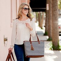 Womens Large Knit Fabric Tote Bag with Faux Leather Accents- Navy and White Striped