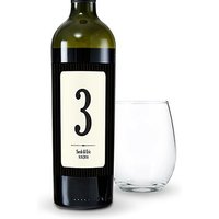 Black Pinstripe Table Number Wine Label