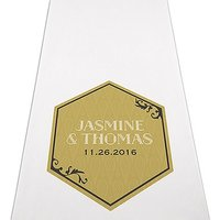Black and Gold Opulence Personalised Aisle Runner - White With Hearts