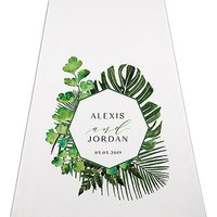 Greenery Personalised Aisle Runner - White With Hearts