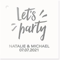 Personalised Metallic Foil Square Favour Tag - Let's Party