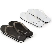 Just Married Wedding Favour Flip Flops - Black and White - Large For Him (Black)