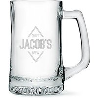 Engraved Glass Beer Mug Gift for Men - Diamond Emblem Etching