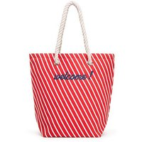 Stripe Cabana Tote - Red
