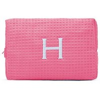 Large Cotton Waffle Cosmetic Bag - Hot Pink