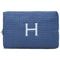 Large Cotton Waffle Cosmetic Bag - Navy
