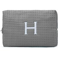 Large Cotton Waffle Cosmetic Bag - Gray