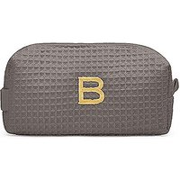 Small Cotton Waffle Cosmetic Bag - Gray