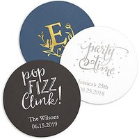 Personalised Paper Coasters - Round - Black