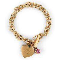 Matte Gold Toggle Charm Bracelet with Gemstone Charm - Alexandrite (june)