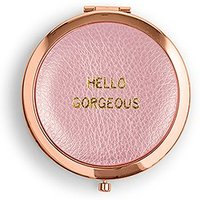 Faux Leather Compact Mirror - Hello Gorgeous Emboss - Silver White