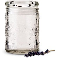 Floral Pressed Glass Mason Jar Favour with Stopper