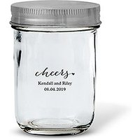 Glass Mason Jar with Silver Lid Favour - Silver