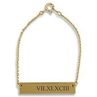 Horizontal Rectangle Tag Bracelet - Roman Numerals - Silver