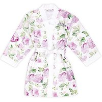 Lavender Watercolour Floral Silky Kimono Robe on White - Large / X-Large