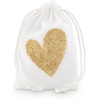 Gold Glitter Heart Muslin Drawstring Favour Bag - Small