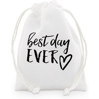 \best day ever\ Print Muslin Drawstring Favour Bag - Small